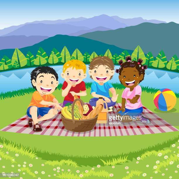 children picnic in spring - picnic blanket stock illustrations, clip art, cartoons, & icons