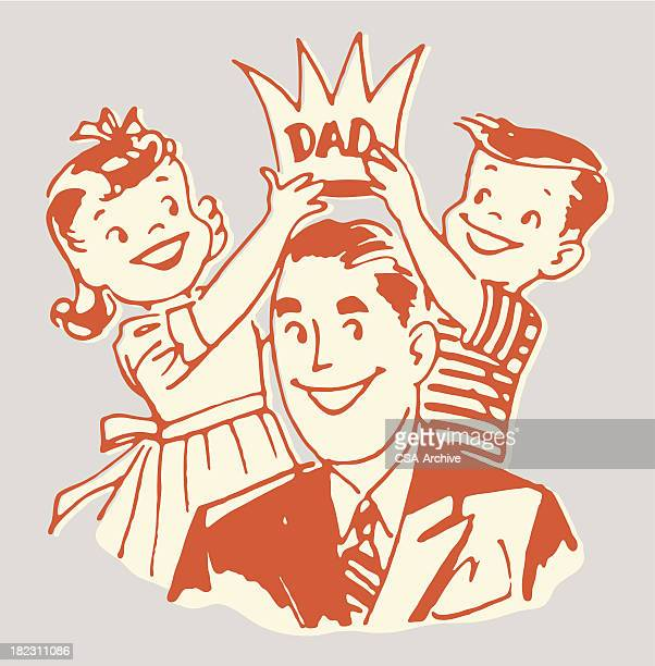 children placing crown on dad - king royal person stock illustrations, clip art, cartoons, & icons