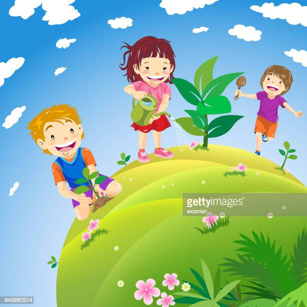 children planting - plant stage stock illustrations, clip art, cartoons, & icons