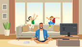 Children play and jump on sofa behind angry and stressed meditation father. Cartoon characters home.