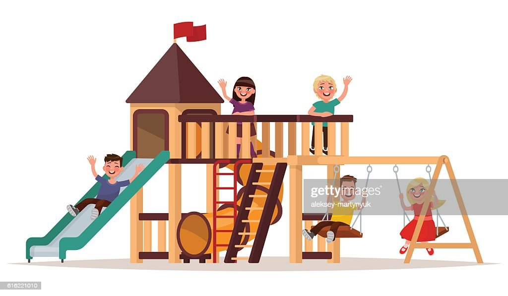 Children play on the playground on a white background. : Vector Art