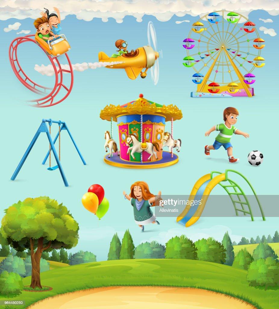 Children playground, set of vector icons