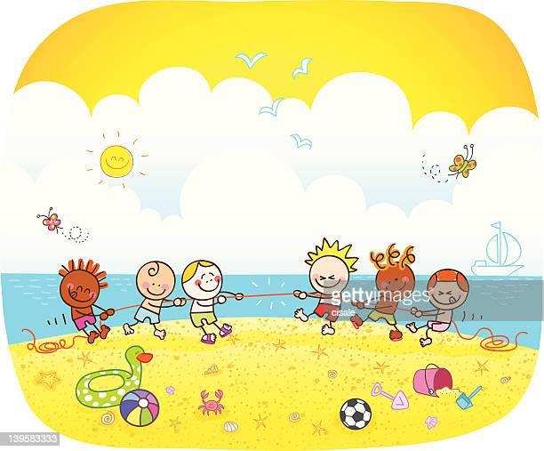 children playing at beach cartoon illustration