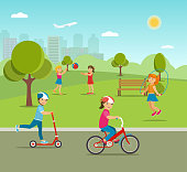 Children playing games and sports in the park. Vector flat illustration