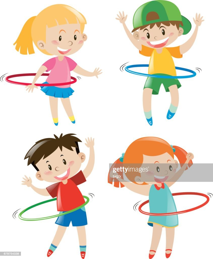 Children playing hula hoops