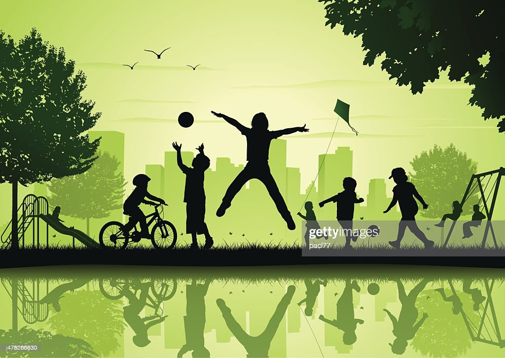 Children playing in the city park : Vector Art