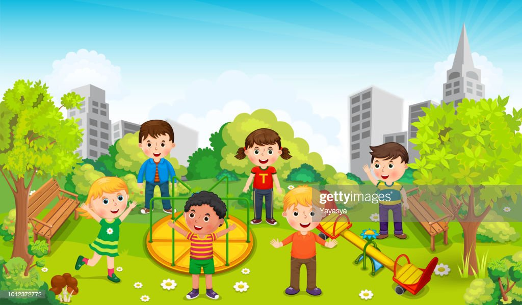 Children playing in the middle of the park against the backdrop of the city. Vector illustration
