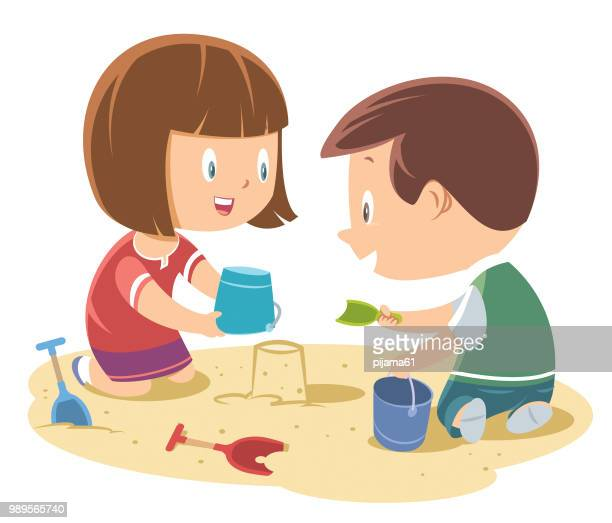 ilustraciones, imágenes clip art, dibujos animados e iconos de stock de niños jugando en la arena - parque infantil