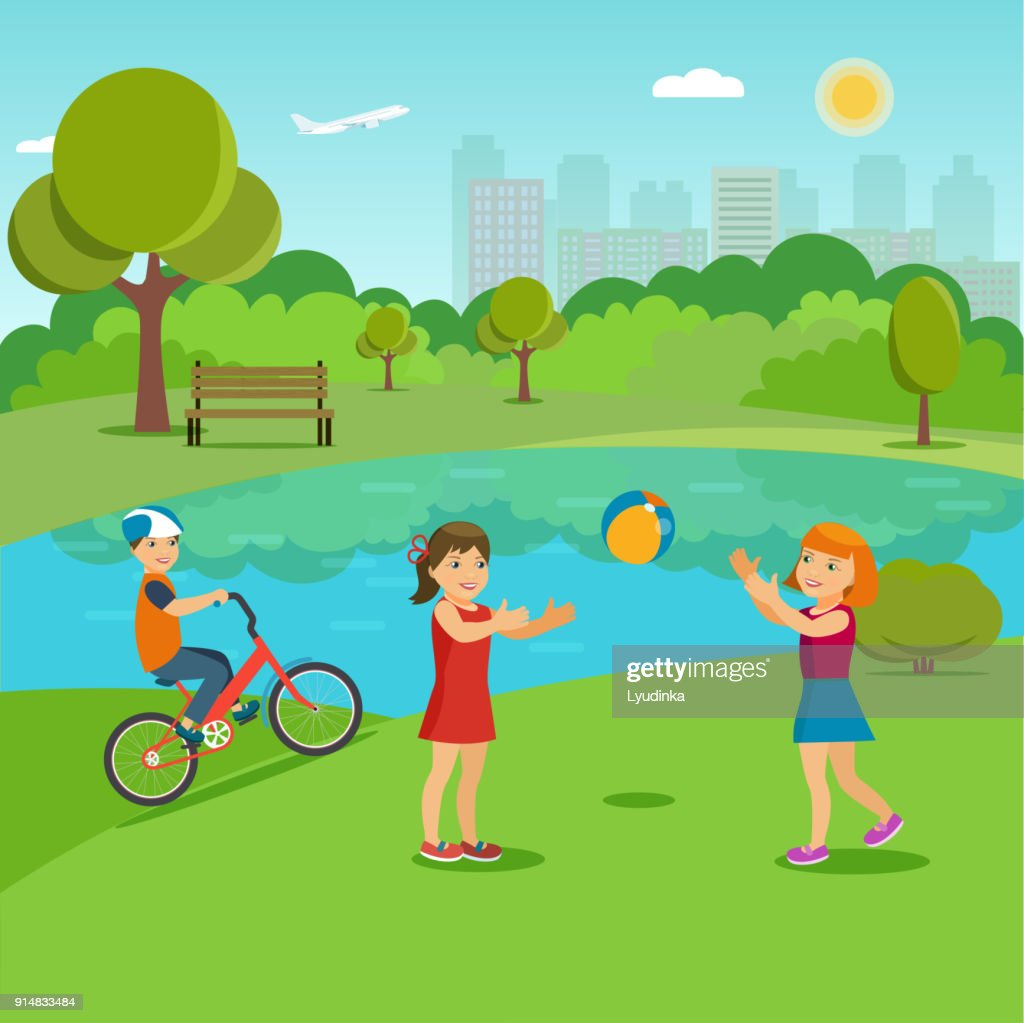 Children playing in the summer city park near the lake. Vector flat illustration