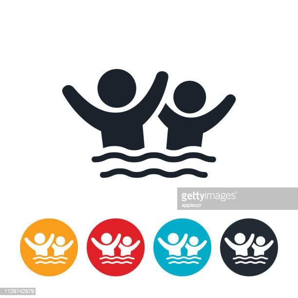 kinder spielen im wasser-symbol - schwimmen stock-grafiken, -clipart, -cartoons und -symbole