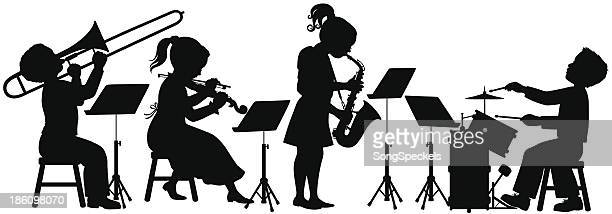 children playing music - musical instrument stock illustrations, clip art, cartoons, & icons