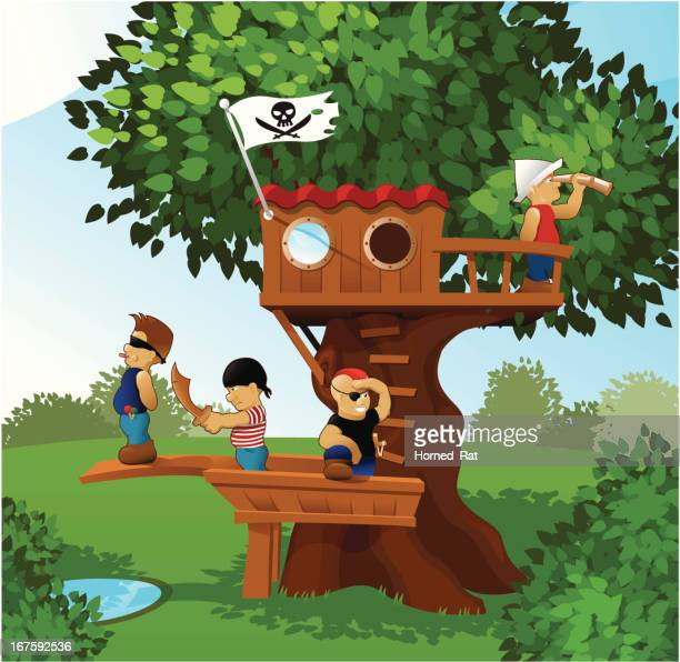 children playing pirates. - country club stock illustrations, clip art, cartoons, & icons