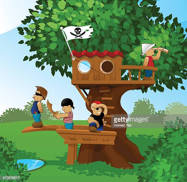 children playing pirates - country club stock illustrations, clip art, cartoons, & icons