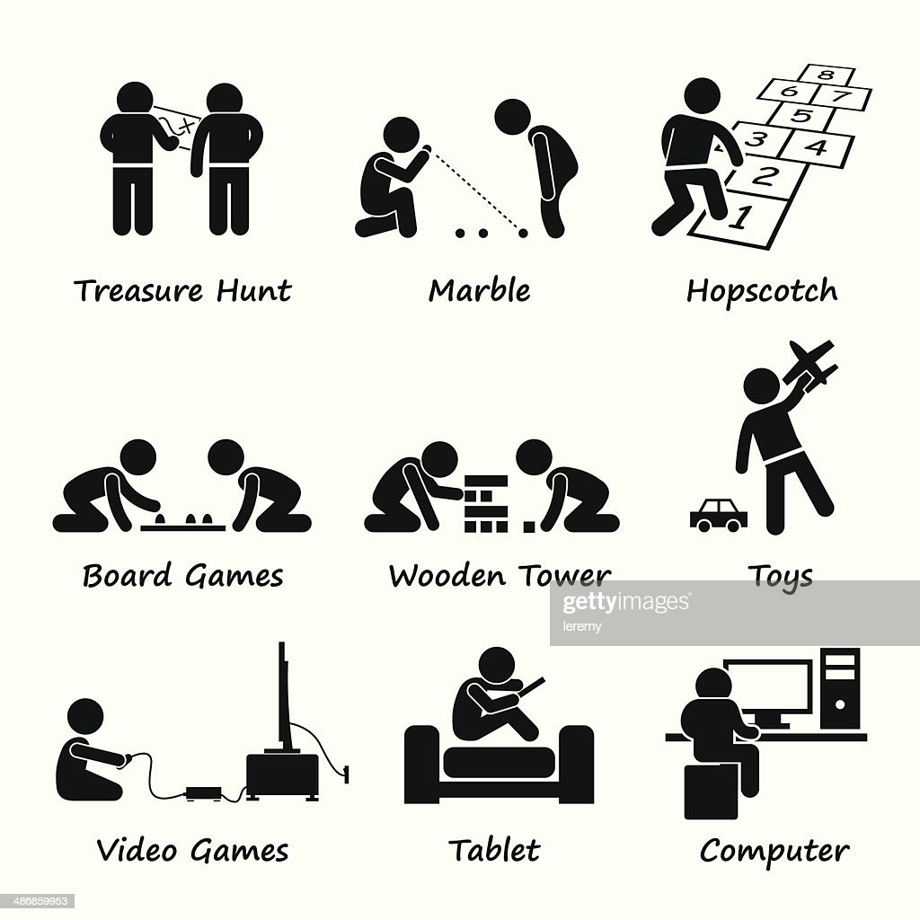 Children Playing Traditional and Modern Games Clipart