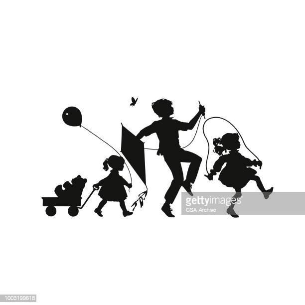 children playing - kite toy stock illustrations