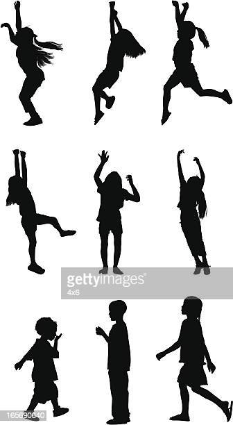 children playing - standing on one leg stock illustrations, clip art, cartoons, & icons