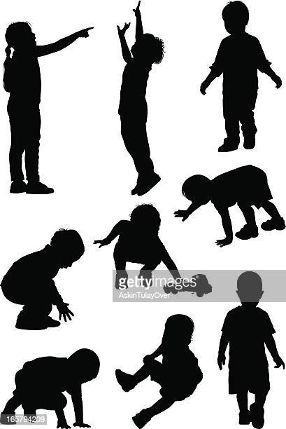 children playing - crouching stock illustrations, clip art, cartoons, & icons