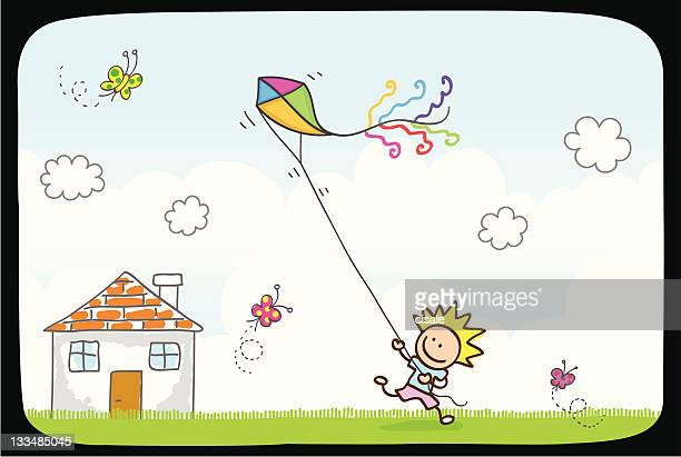 Children playing with kite in summer,spring nature cartoon illustration