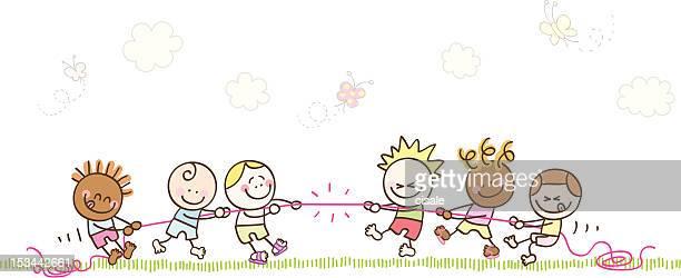 Niños jugando con cuerda ilustración dibujo animado