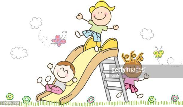 children playing with slide cartoon illustration