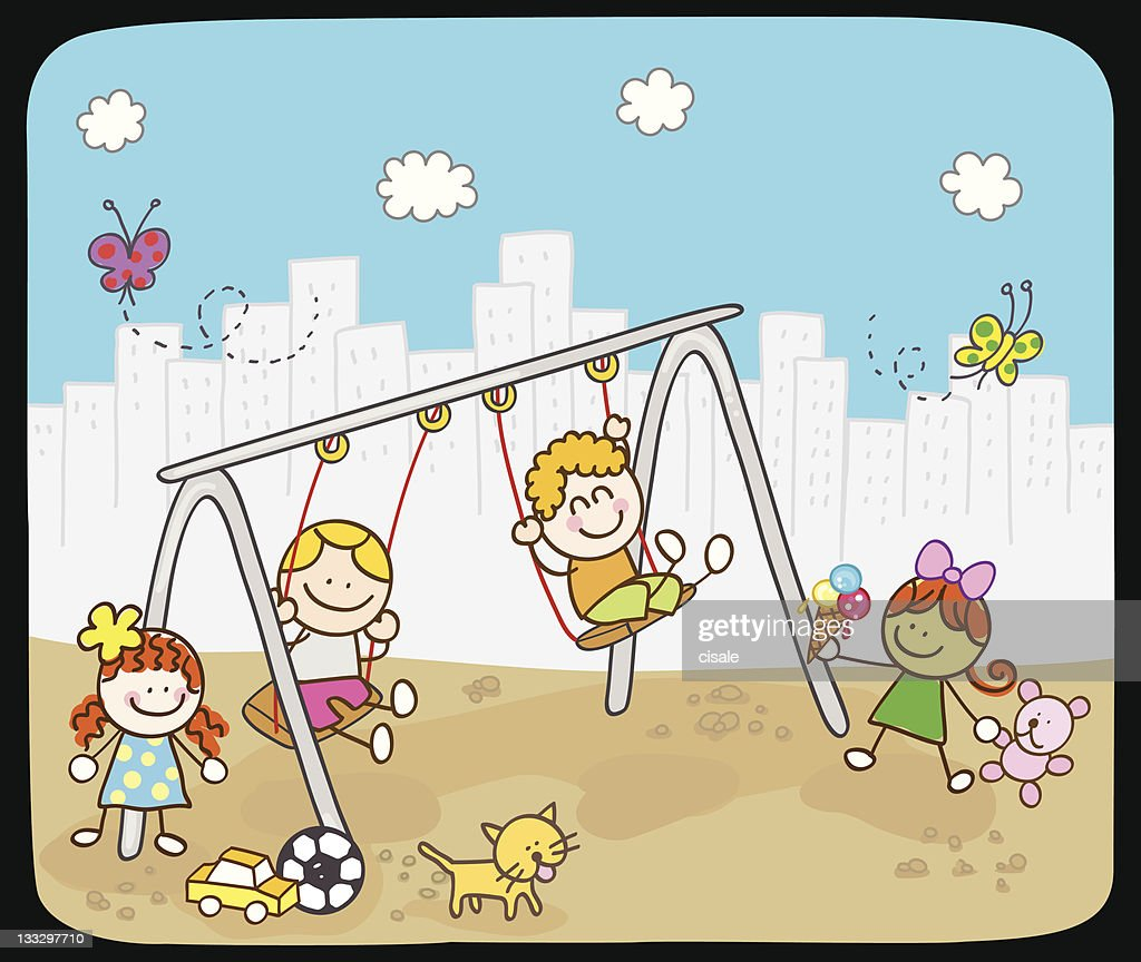 Children playing with swing in summer,spring cartoon illustration : stock illustration