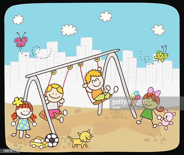 Children playing with swing in summer,spring cartoon illustration