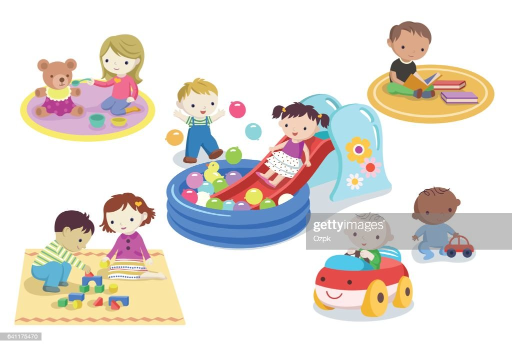 Children playing with toys in kindergarten