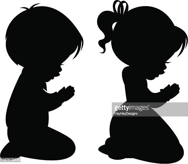 Children Praying Silhouettes