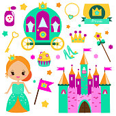 Children princess party design elements. Stickers, clip art for girls. Carriage, castle, rainbow and other fairy symbols