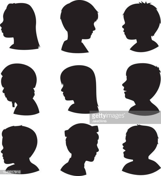 children profile silhouettes 3 - child stock illustrations