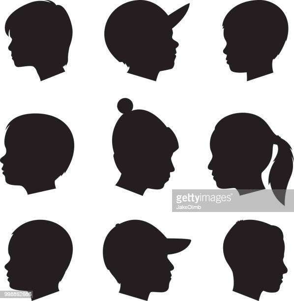 children profile silhouettes - side view stock illustrations