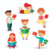 Children reading books set of vector illustrations in flat design. Happy girls and boys with books isolated on white background.