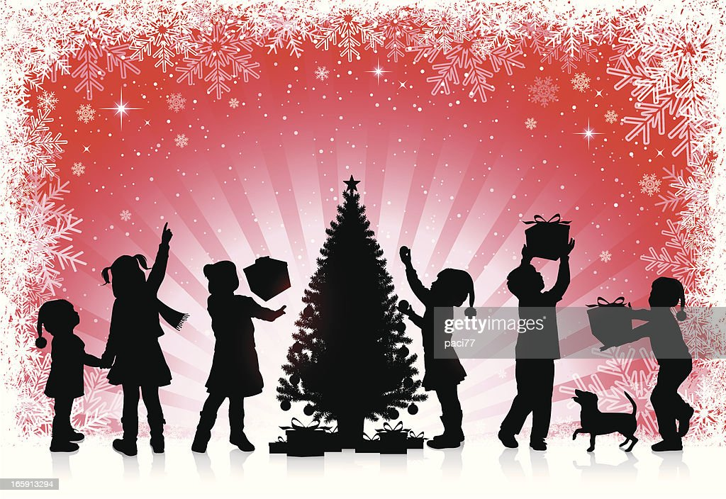 Children receive gifts for Christmas : stock illustration