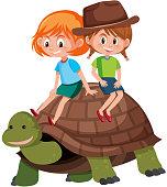 Children riding on turtle