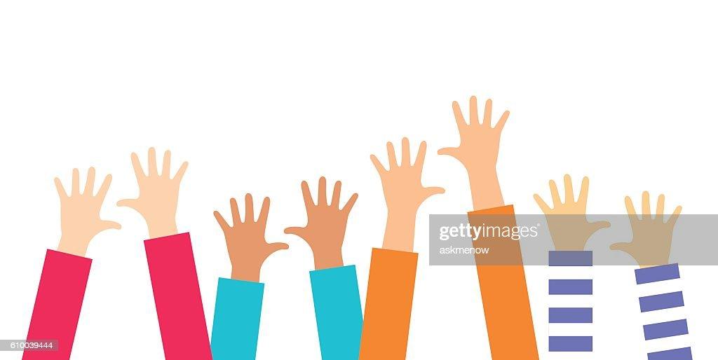Children rising hands