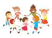 Children round dancing. Party dance in baby club illustration