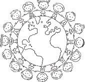 Children round the globe, outline
