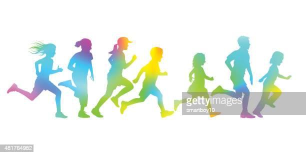 children running - running stock illustrations