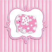 Children sample card. On a pink striped background pink elephant.