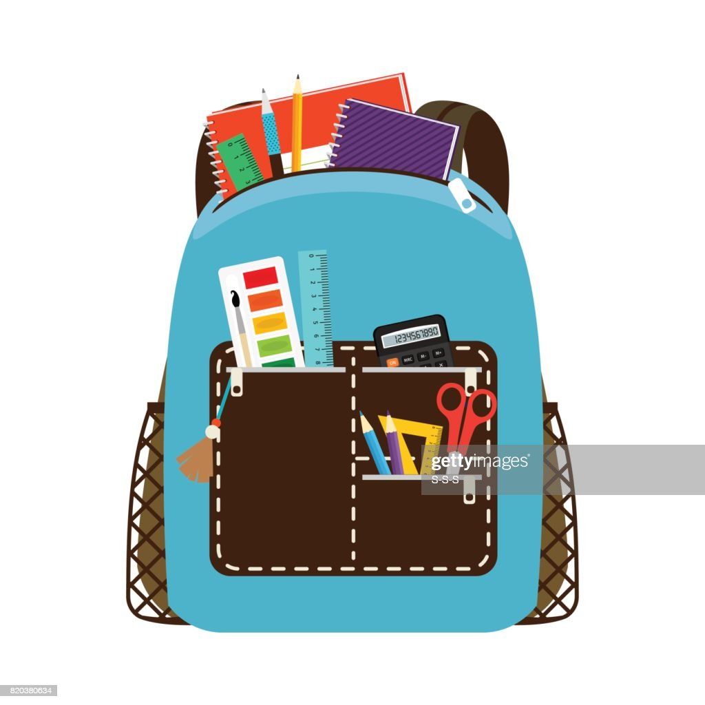 Children school blue bag pack