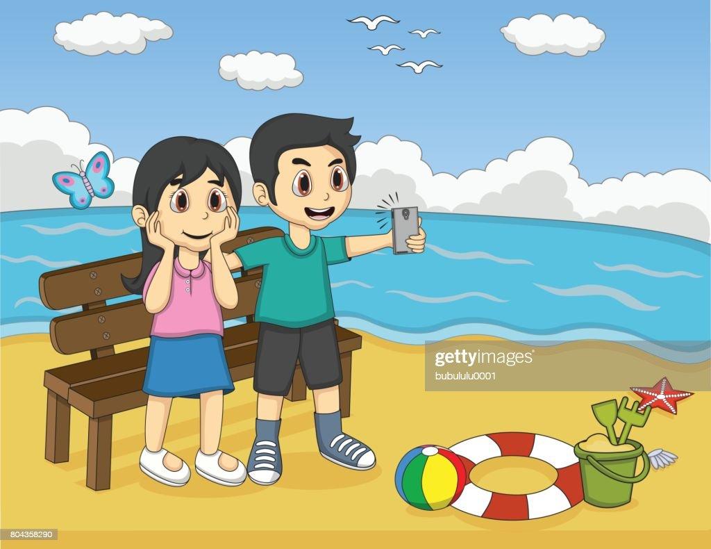 Children self-ie in the beach cartoon