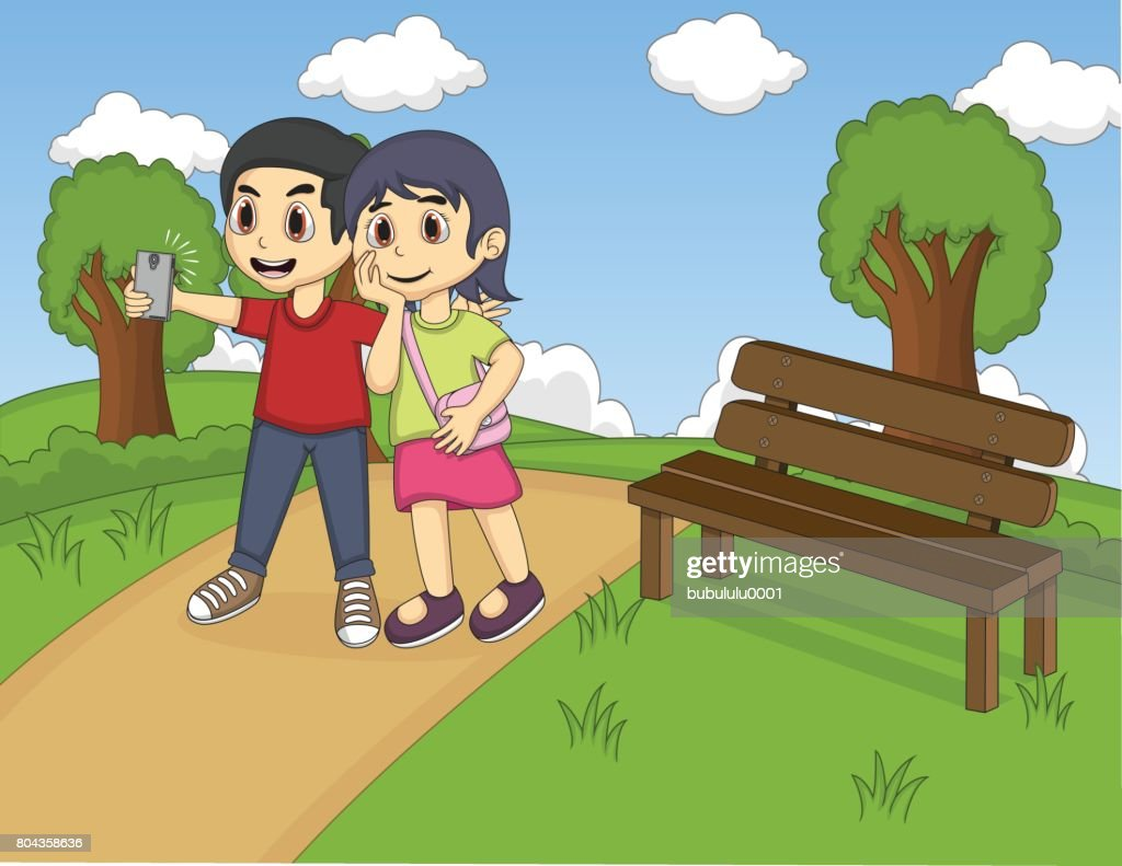 Children self-ie in the park cartoon