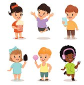 Children set. Cute kids with popcorn, smartphone, ice cream, sweet candy, walkman, jumping, running, standing. Vector illustration.