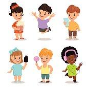 Children set. Cute kids with popcorn, smartphone, ice cream, sweet candy, walkman, jumping, running, standing. Vector illustration.