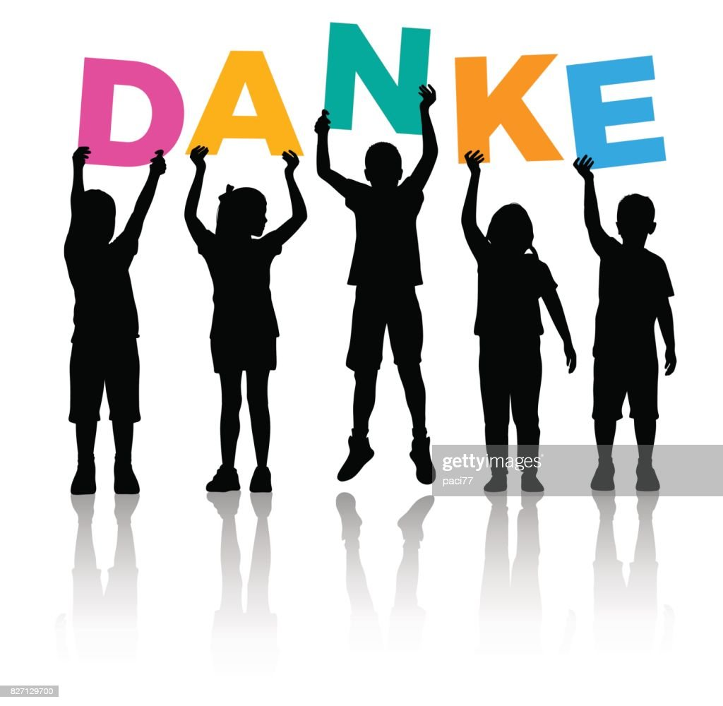 Children Silhouette holding letters colored of the word DANKE