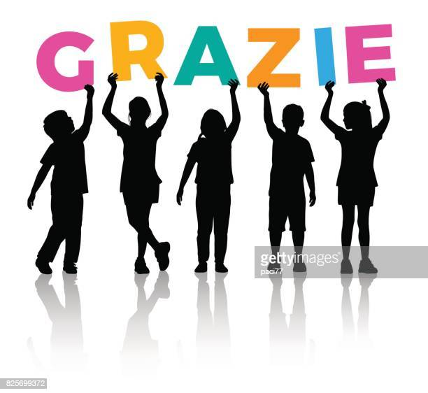 Children Silhouette holding letters colored of the word GRAZIE