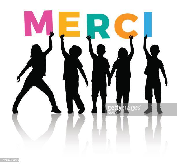 Children Silhouette holding letters colored of the word MERCI