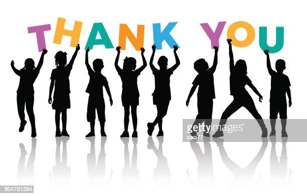 Children Silhouette holding letters colored of the word THANK YOU