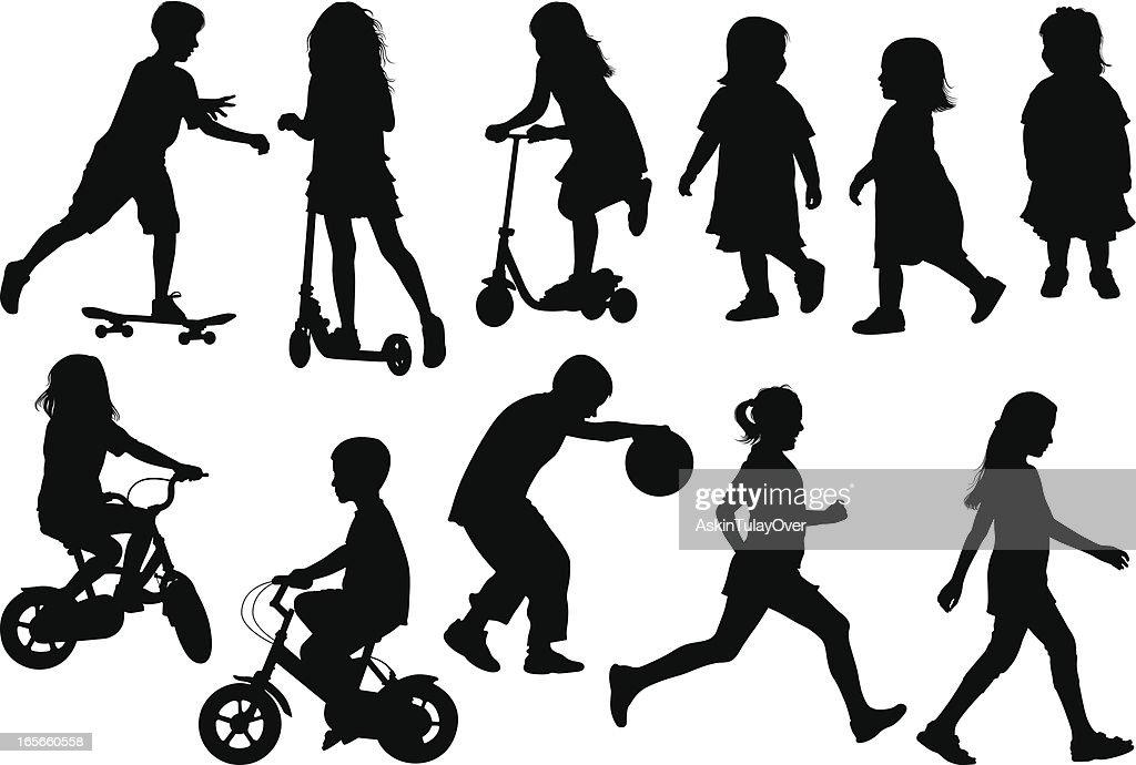 Children Silhouette : stock illustration
