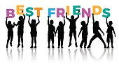 Children silhouettes holding letters with word BEST FRIENDS